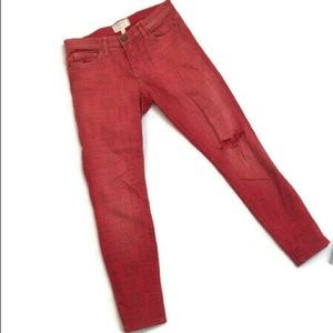 Current Elliot Stiletto Red Coral Skinny Jean